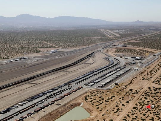 Rail cars stack up at the Union Pacific intermodal