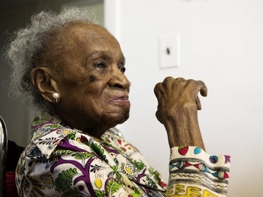 This July 2015 photo shows Agnes Fenton in her Englewood home. Fenton died Thursday at age 112.