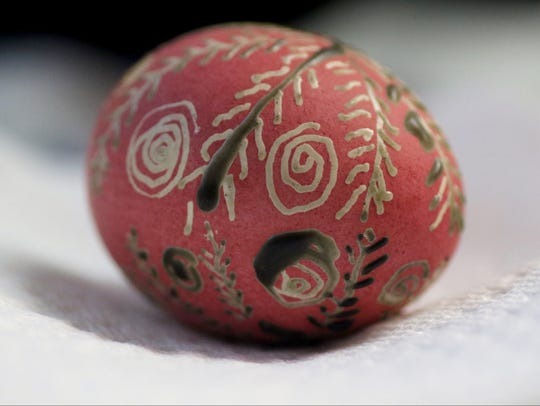 A newly designed Easter egg or pysanka is shown in