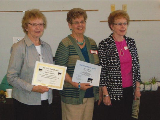 In early May, the Marathon County Association for Home and Community Education (HCE) honored members with a luncheon, 50-year pins and certificates from the state and county. As pictured, the honorees were Elaine Hanke, from left, Iris Thurs and Jackie Hanke. Linda Brickner was also honored, but was unable to attend. They are all charter members of Apron Strings HCE, which was organized in 1965.