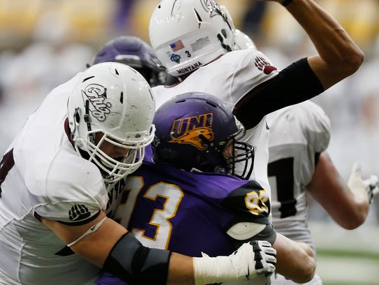 Northern Iowa's Karter Schult sacks Montana quarterback