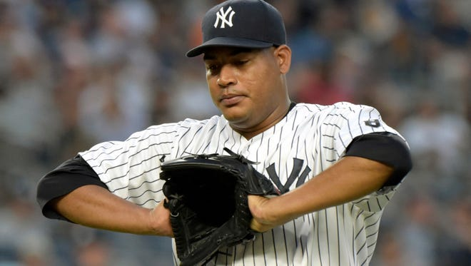 New York Yankees pitcher Ivan Nova reacts as he leaves the mound after throwing during the third inning of a baseball game against the Baltimore Orioles, Monday, July 18, 2016, at Yankee Stadium in New York.