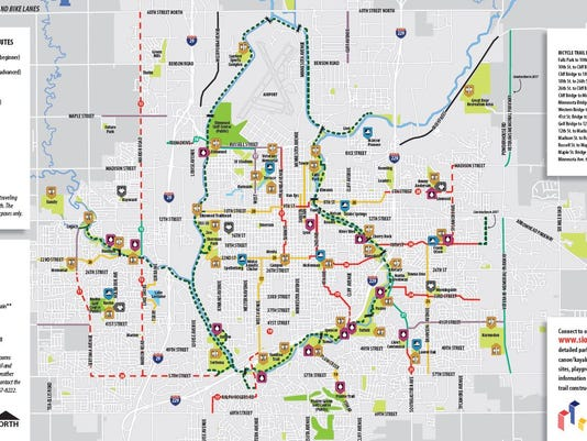Now on your smartphone: Navigate the bike trail Sioux Falls Bike Trail Map on bakersfield bike trail map, albuquerque bike trail map, ogden bike trail map, eagan bike trail map, albany bike trail map, brown county bike trail map, tampa bike trail map, brookings bike trail map, cincinnati bike trail map, black hills bike trail map, plano bike trail map, little rock bike trail map, farmington bike trail map, salem bike trail map, atlanta bike trail map, casper bike trail map, arvada bike trail map, bozeman bike trail map, wausau bike trail map, marquette bike trail map,