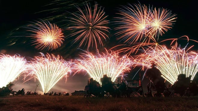 Fireworks explode on the ground and in the air at Elmdale Airpark on July 4, 2015.