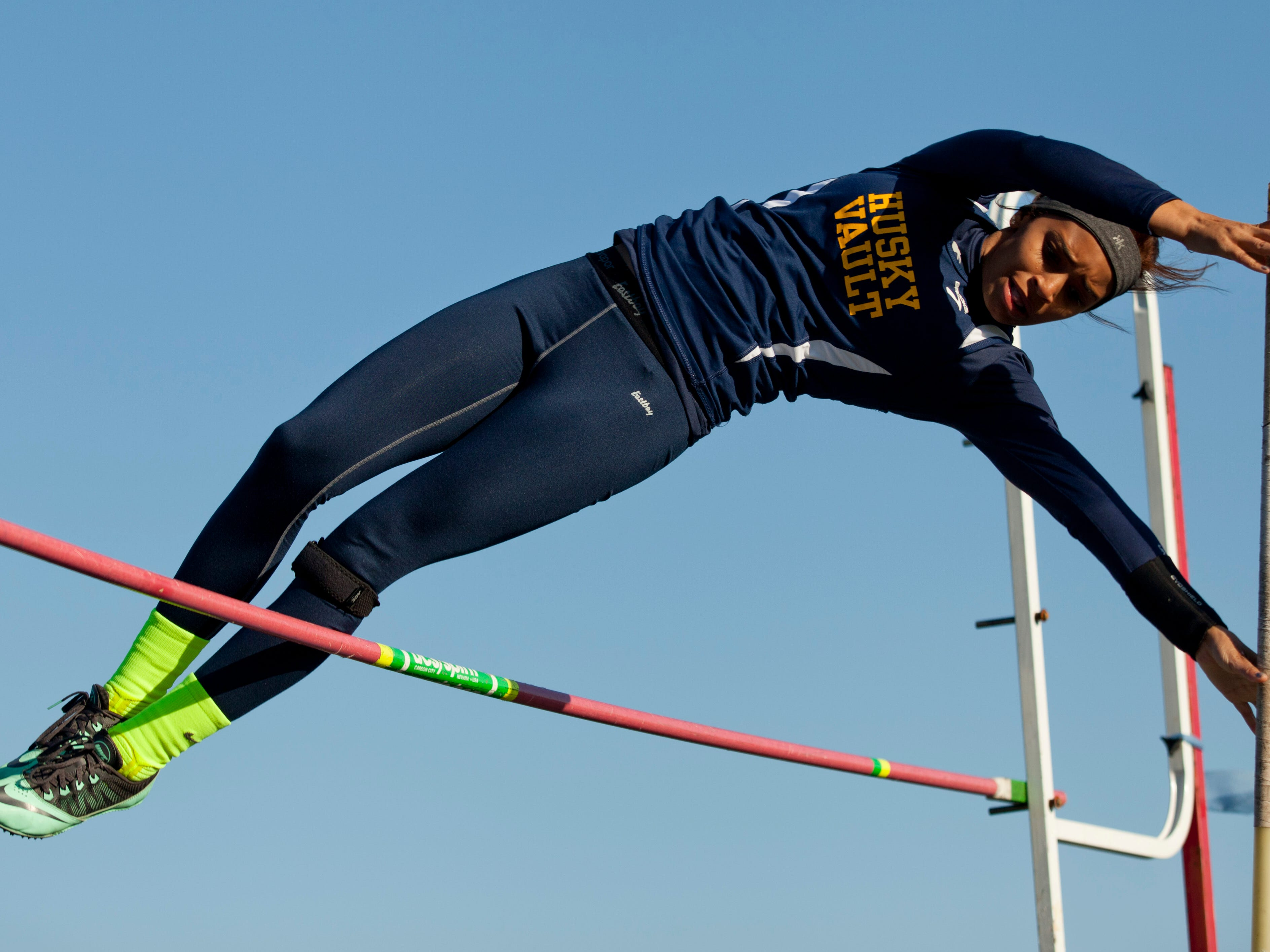 Port Huron Northern's Sophie Jackson competes in the pole vault during the Meet of Champions Friday, May 22, 2015 at Marysville High School.