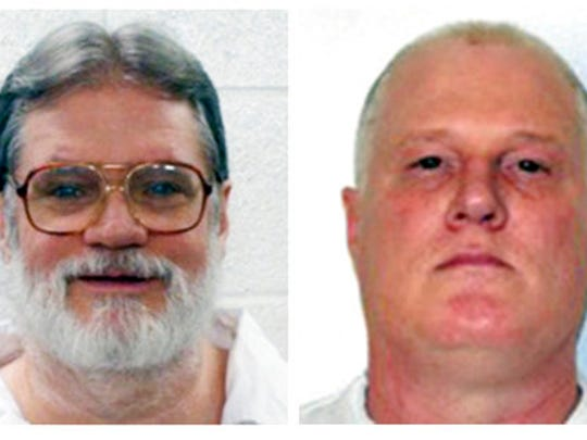 FILE - This combination of file photos provided by the Arkansas Department of Correction shows death-row inmates Bruce Earl Ward, left, and Don William Davis. Both men are scheduled for execution April 17, 2017.