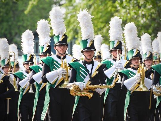 Sauk Rapids-Rice High School marching band at the 2018 Sauk Rapids River Days parade.