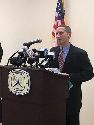 Superintendent Carmen Gumina speaks at a news conference about a Webster teacher who recorded students changing in school.