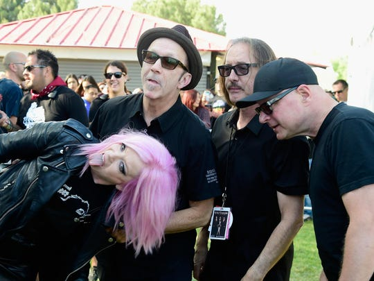 Shirley Manson, Duke Erikson, Butch Vig and Steve Marker of Garbage, shown at Irvine Meadows Amphitheatre on May 14 in Irvine, California.