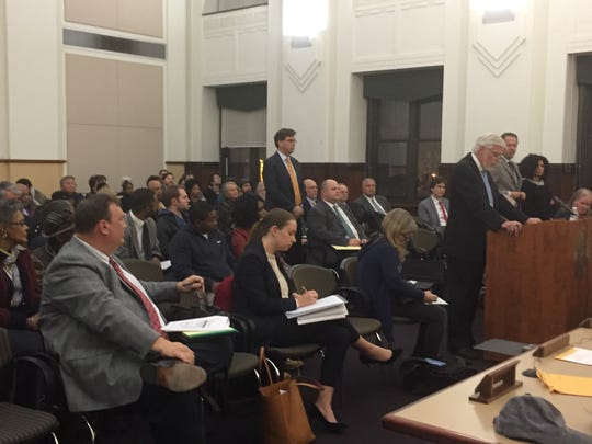 Attorney Edward Sheehan addresses Camden's planning board before a large crowd at City Hall Tuesday night.