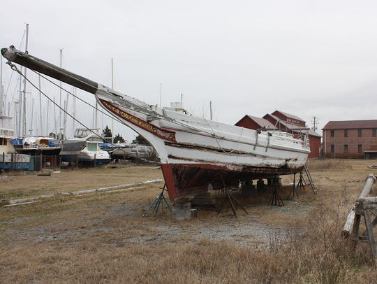 An old boat awaits its fate in Cambridge, Maryland.