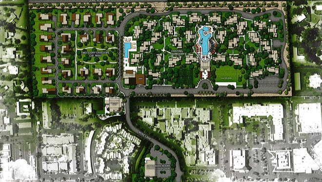 The plan to redevelop the Cottonwoods resort near Scottsdale Road and McDonald Drive.