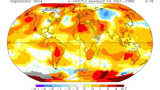 According to NASA, last month was the warmest September for the globe on record, although temperatures fell within a normal range in the Midwest. NOAA will come out later this week with its own take on the September numbers, which should be similar.