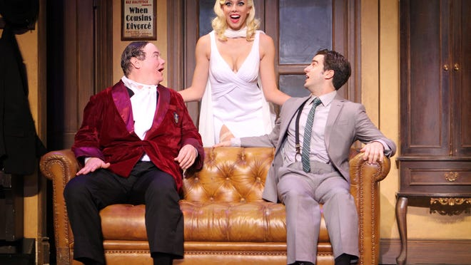 """David Johnson as Bialystock_Jessica Ernest as Ulla_Richard Lafleur as Bloom in """"The Producers."""""""