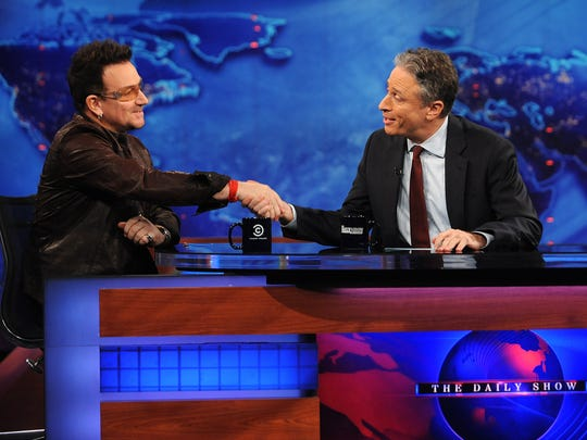 Jon Stewart, with Bono in 2011, could gab with celebs