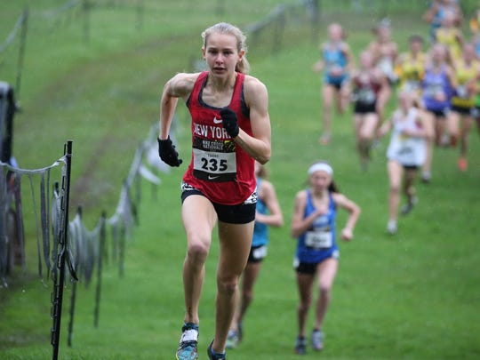North Rockland sophomore Katelyn Tuohy runs the course at the Nike Nationals meet in Portland, Oregon on Saturday, December 2nd, 2017.