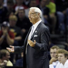 Roy Williams reacts in the first half of a men's college basketball game against the Iowa State Cyclones.