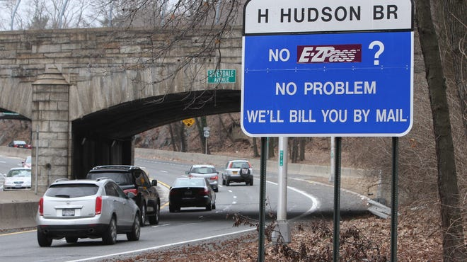 A toll billed by mail sign is seen at the en trance to the south bound Henry Hudson Parkway in Riverdale on March 19.