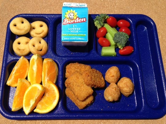 Food services officials for the Lee County school system say this meal, called the Fisherman's Platter, is one of the most popular lunches this year. It is a sweet-potato crusted fish nugget with corn hushpuppies, potatoes and fruit.
