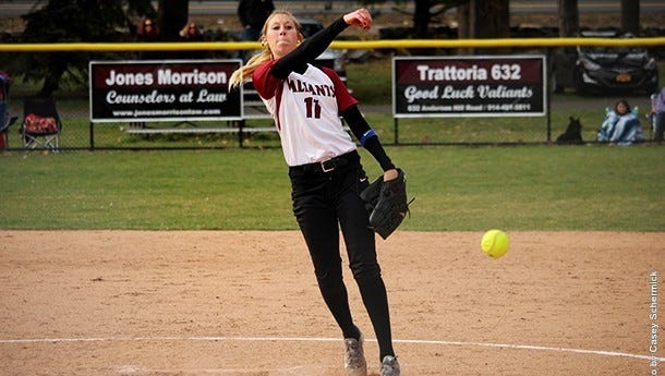 Manhattanville softball pitcher Alycia Feeney, a Brewster native, in action during a game against King's on Saturday.