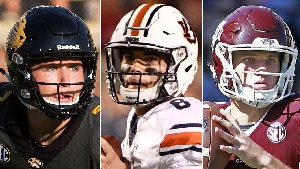 Alabama will face three of Athlon Sports' Top 10 starting quarterbacks (from left to right) in Drew Lock, Jarrett Stidham and Nick Fitzgerald.