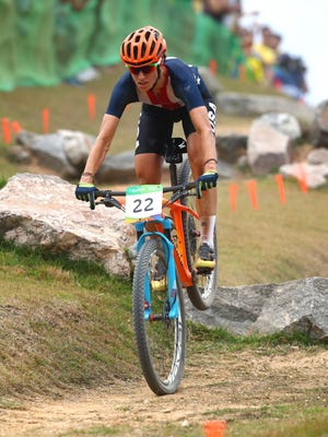 Jericho's Lea Davison competes in the women's cross country cycling mountain bike event during the Rio 2016 Summer Olympic Games.