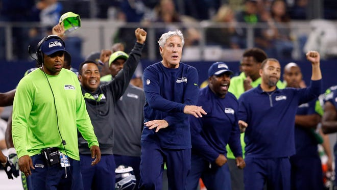 Seattle Seahawks head coach Pete Carroll reacts during the game against the Dallas Cowboys at AT&T Stadium on Nov. 1, 2015.