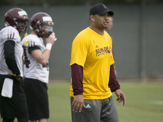 ASU defensive backs coach Tony White during an ASU football spring practice at the Kajikawa practice fields in Tempe on Thursday, March 22, 2018.