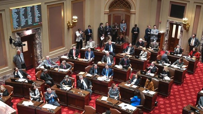 Senators take part in a floor session during the 2017 legislative session in St. Paul.