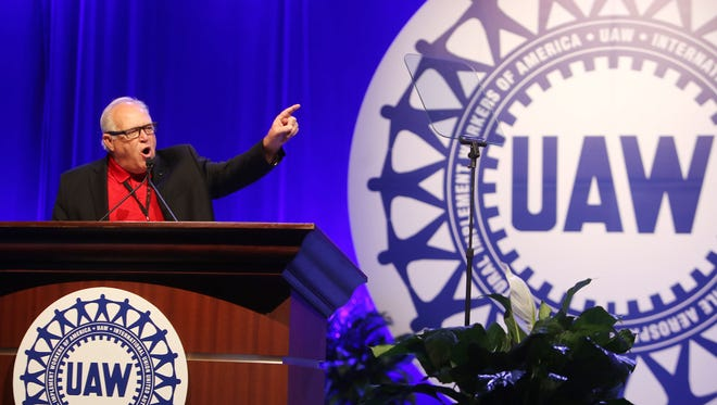 UAW  President Dennis Williams speaks during day two of the 2015 Special Bargaining Convention at Cobo Center in downtown Detroit on Wednesday, March 25, 2015.