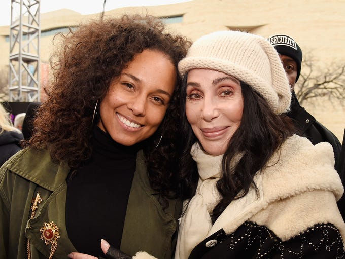 Alicia Keys and Cher get close at the Women's March