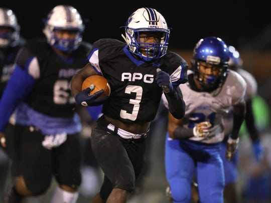 Godby's Jerry Ray breaks off a 39-yard run against Trinity Christian Academy during their Region 1-5A Semifinal game at Cox Stadium on Friday, Nov. 17, 2017.