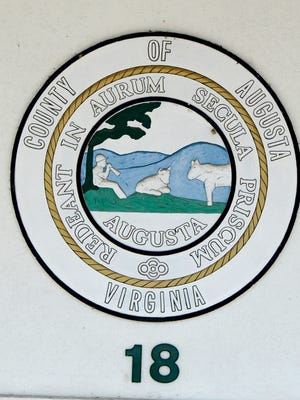 Augusta County seal on the Augusta County Government Center in Verona.