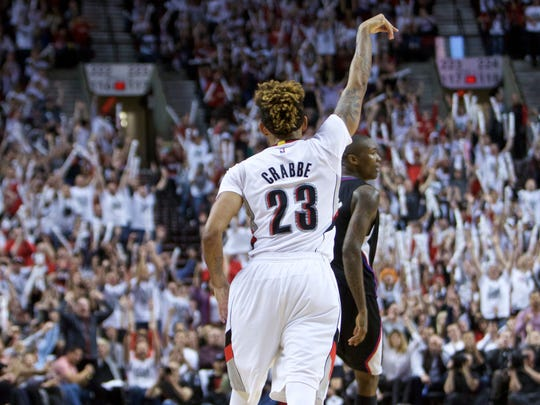 Portland Trail Blazers guard Allen Crabbe gestures after making a 3-point basket against the Los Angeles Clippers during the second half of Game 6 of an NBA basketball first-round playoff series Friday, April 29, 2016, in Portland, Ore. The Trail Blazers won 106-103. (AP Photo/Craig Mitchelldyer)