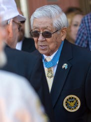 """Hiroshi """"Hersey"""" H. Miyamura, 92, recipient of the Medal of Honor for actions in the Korean War, attends the funeral of Mike Kazuji Miyagishima, father of Las Cruces Mayor Ken Miyagishima, at the Cathedral of the Immaculate Heart of Mary on March 17, 2018."""