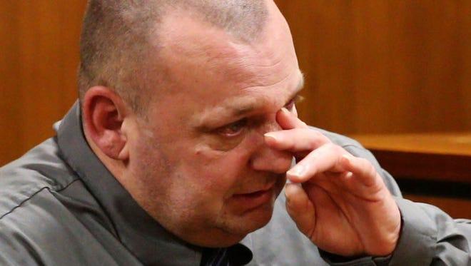 Murder trial of Alan Bienkowski, Manchester, accused of killing Anthony Verdicchio. Bienkowski wipes away a tear as he testifies in his own defense—February 17, 2016 -Toms River, NJ.-Staff photographer/Bob Bielk/Asbury Park Press