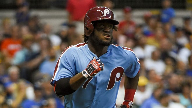 Phillies center fielder Odubel Herrera wore the powder-blue uniforms last season for a turn-back-the-clock game in Milwaukee. The team will be wearing the uniforms for select home games this season.