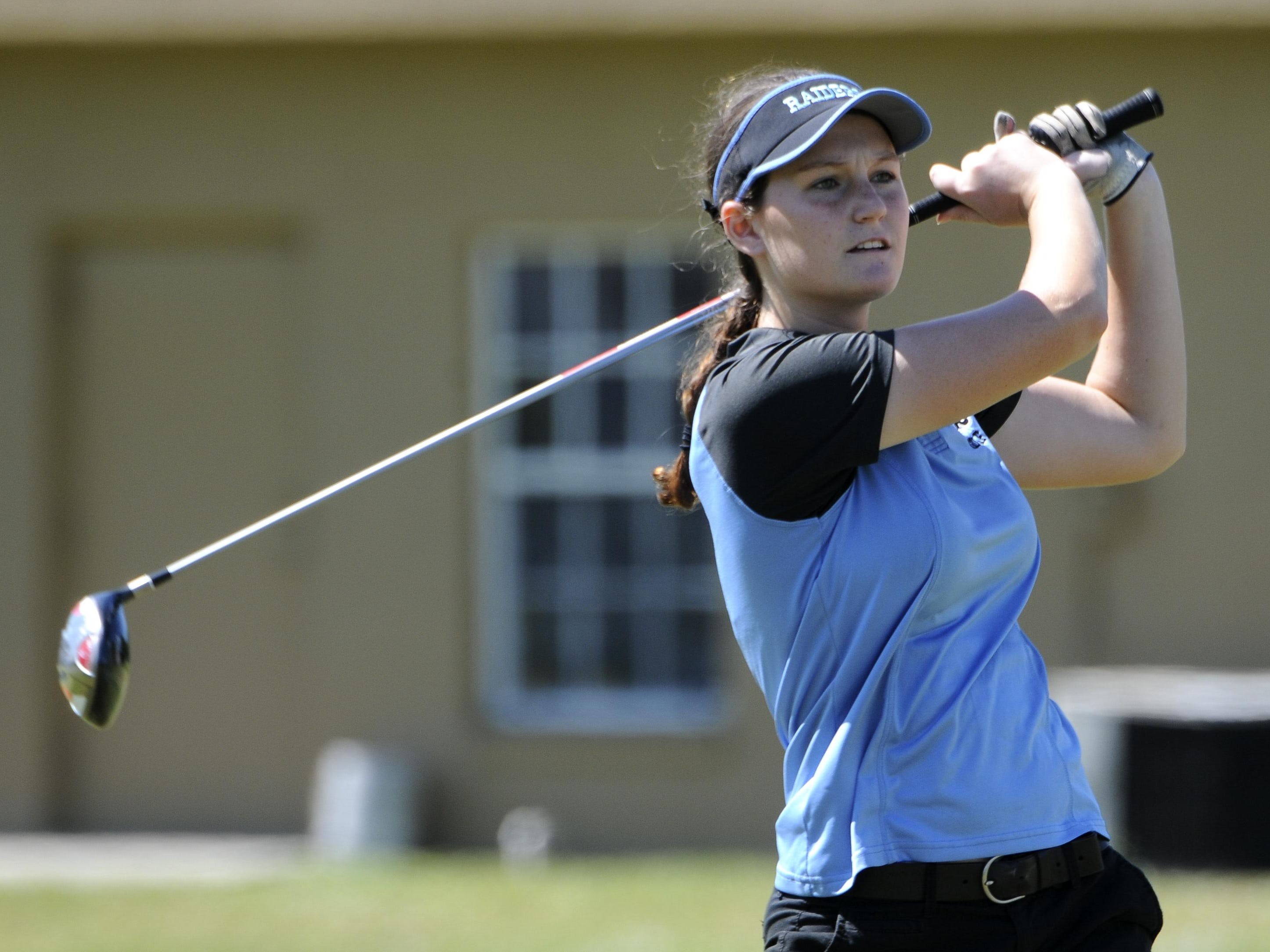 Savannah Simpson of Rockledge watches her tee shot during the Cape Coast Conference girls golf tournament Tuesday.