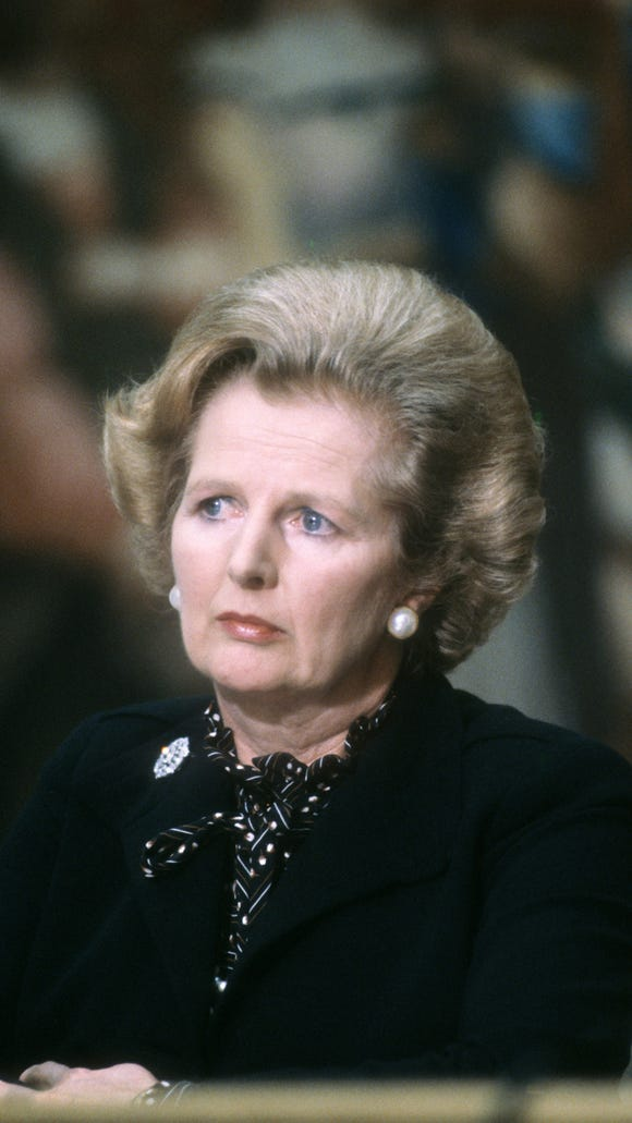 British Prime Minister Margaret Thatcher in one of
