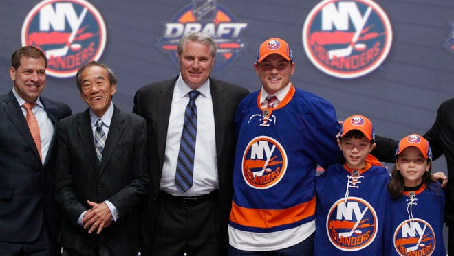 Kieffer Bellows poses for a photo after being selected 19th overall by the New York Islanders. Bellows is the fifth former Sioux Falls Stampede player to be selected in the first round of the NHL Draft.