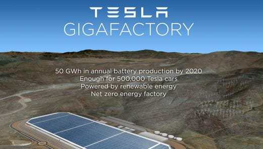 A photo rendering of the future lithium batter factory Tesla Motors Inc. is set to build in Storey County.