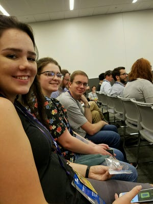 Flushing High students Holly Neva, Gabrielle Sanfilippo and Andrew Roth attend a news conference at the Republican convention in Cleveland on Monday