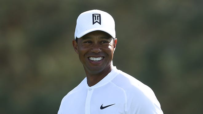 SAN DIEGO, CA - JANUARY 27:  Tiger Woods walks down the fairway on the 14th hole during the third round of the Farmers Insurance Open at Torrey Pines South on January 27, 2018 in San Diego, California.  (Photo by Sean M. Haffey/Getty Images) ORG XMIT: 775099020 ORIG FILE ID: 911212092
