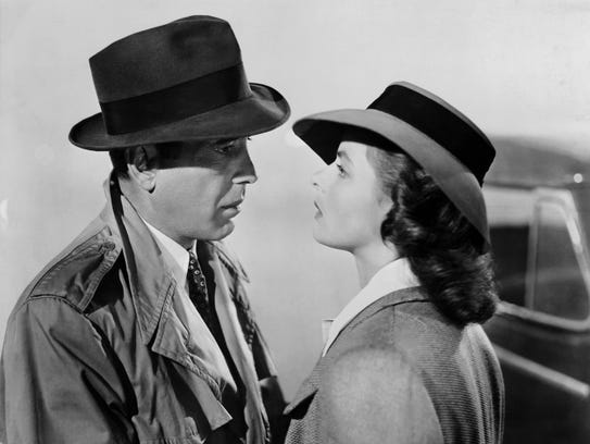 "Humphrey Bogart and Ingrid Bergman star in ""Casablanca."""