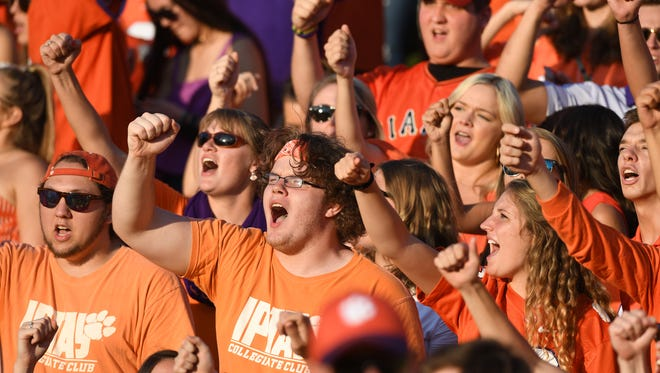 Clemson students during pre-game on Saturday, September 9, 2017 at Clemson's Memorial Stadium.