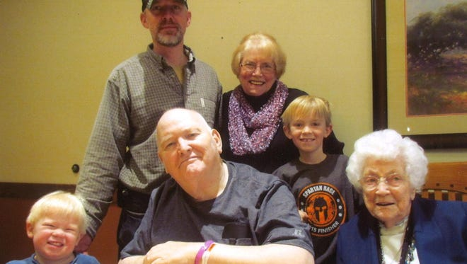 An area family recently gathered for a four generation photo. In front, from left: Tragen Strand, Ken Strand and Inga Morris-Connolly. In back, from left: Tim Strand, Pat Strand and Rogen Strand.