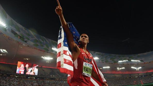 USA's gold medallist Ashton Eaton celebrates after