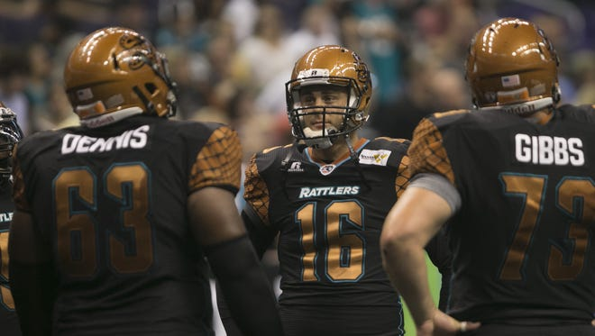 Rattlers' BJ Coleman makes his first AFL start against the SaberCats at US Airways Center in Phoenix, AZ on May 2, 2015.