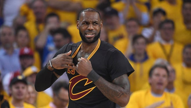 Jun 12, 2017: Cleveland Cavaliers forward LeBron James (23) reacts against the Golden State Warriors during the first quarter in game five of the 2017 NBA Finals at Oracle Arena.