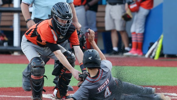 Tuckahoe catcher Ryan Rockhill tags out Pawling's John